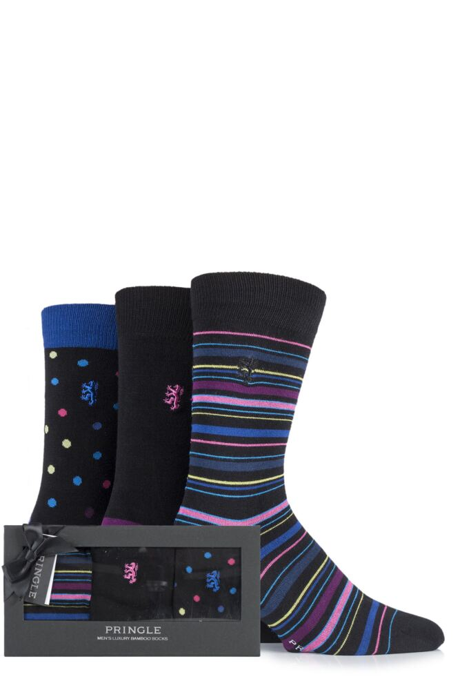 Mens 3 Pair Pringle Black Label Gift Boxed Plain, Spotty and Striped Bamboo Socks