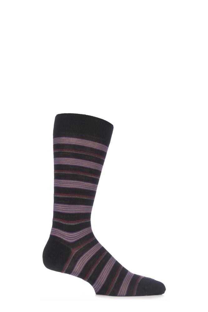 Mens 1 Pair Pantherella Merino Wool Siddons Neat Fine Striped Socks