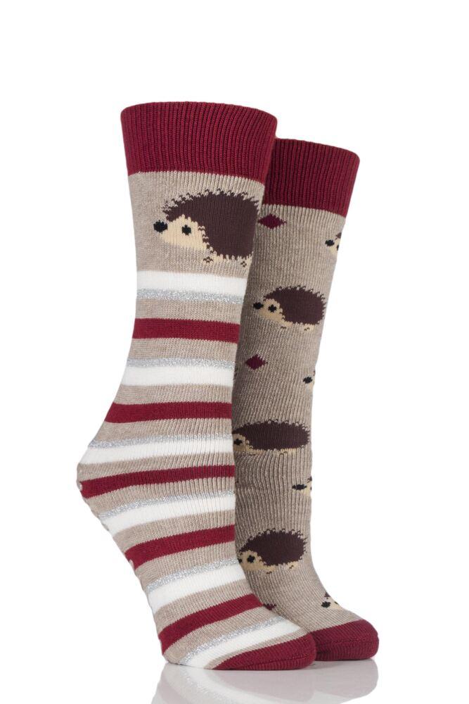 Ladies 2 Pair Totes Original Christmas Novelty Hedgehog and Stripe Slipper Socks with Grip