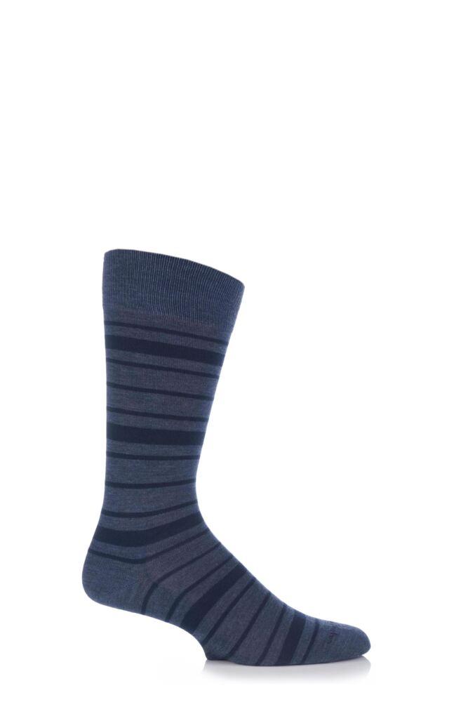 Mens 1 Pair Burlington Denim Stripe Socks