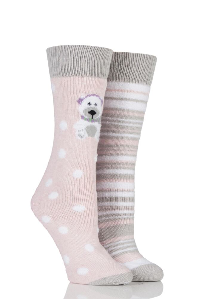 Ladies 2 Pair Totes Original Christmas Novelty Polar Bear Slipper Socks with Grip