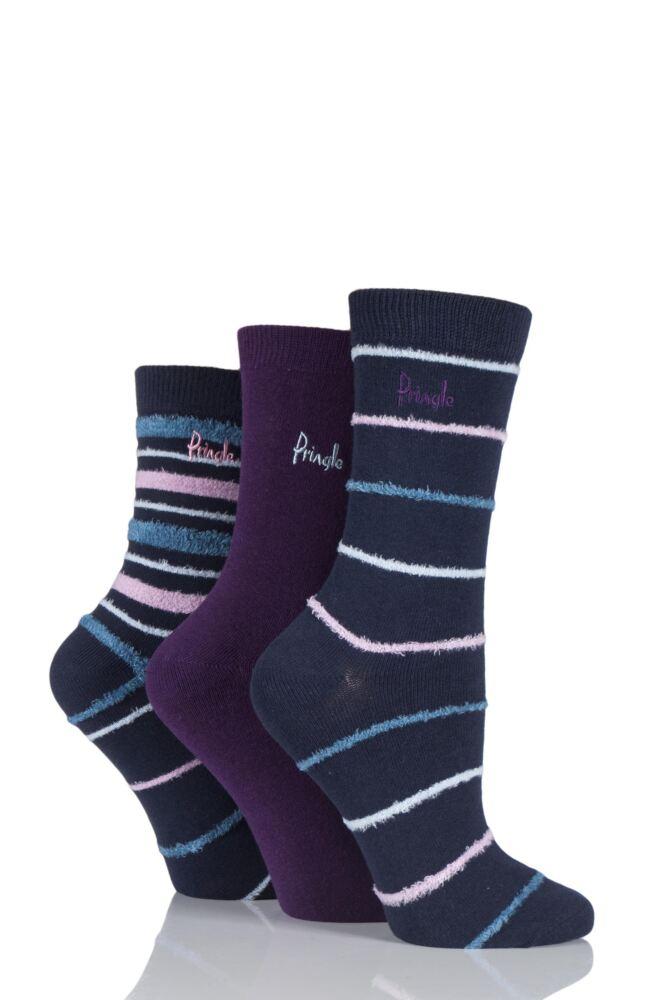 Ladies 3 Pair Pringle Kaye Feathered Stripe and Plain Cotton Socks