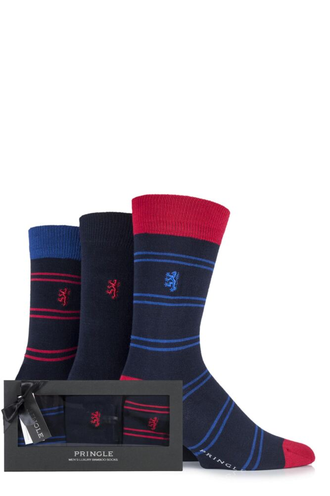 Mens 3 Pair Pringle Black Label Gift Boxed Plain and Double Striped Bamboo Socks