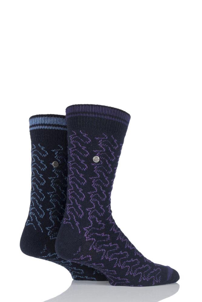 Mens 2 Pair Jeep Spirit Eagle Pattern Wool Mix Socks