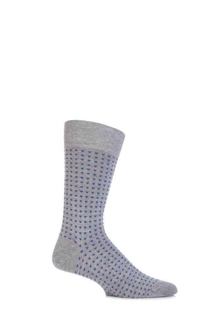 Mens 1 Pair John Smedley Linton Sea Island Cotton Micro Heart Socks 25% OFF