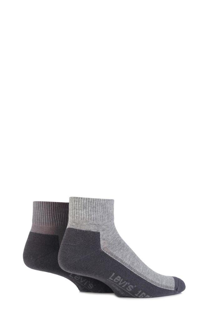 Mens 2 Pair Levis 168LS Plain Cushioned Quarter Length Socks