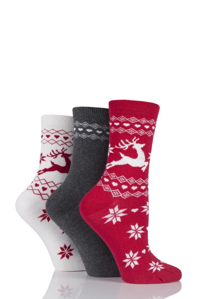 Ladies 3 Pair SockShop Reindeer Fairisle Design Novelty Cotton Socks
