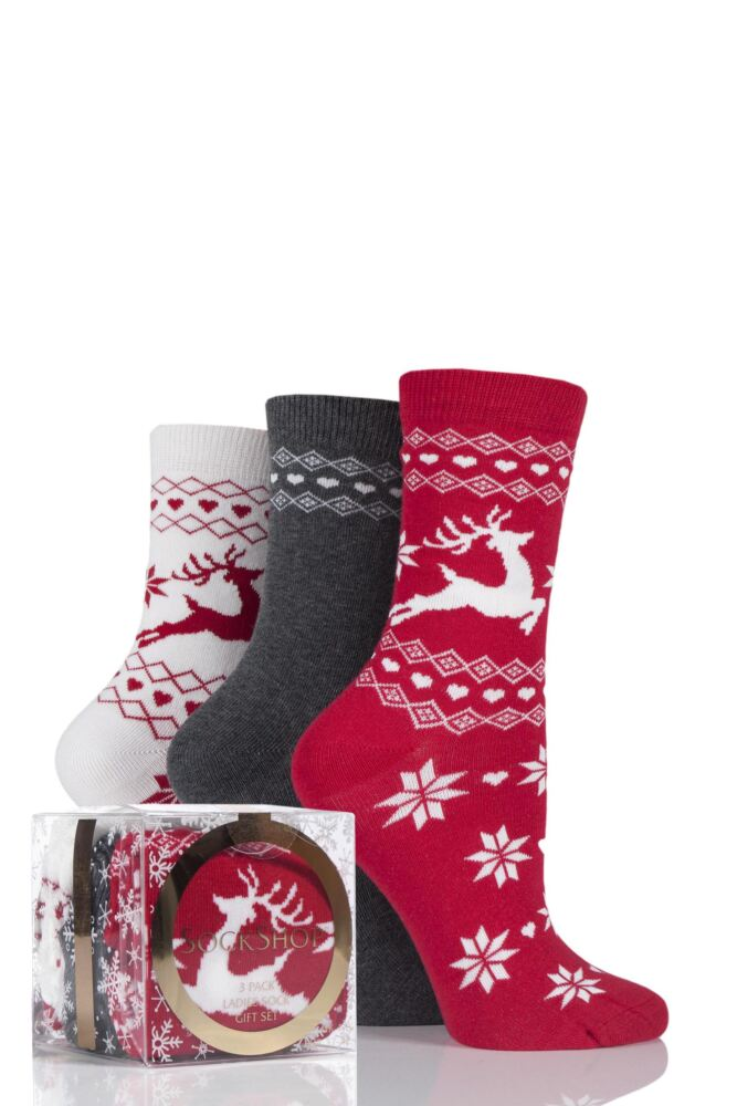 Ladies 3 Pair SockShop Reindeer Fairisle Design Novelty Cotton Socks In Gift Box