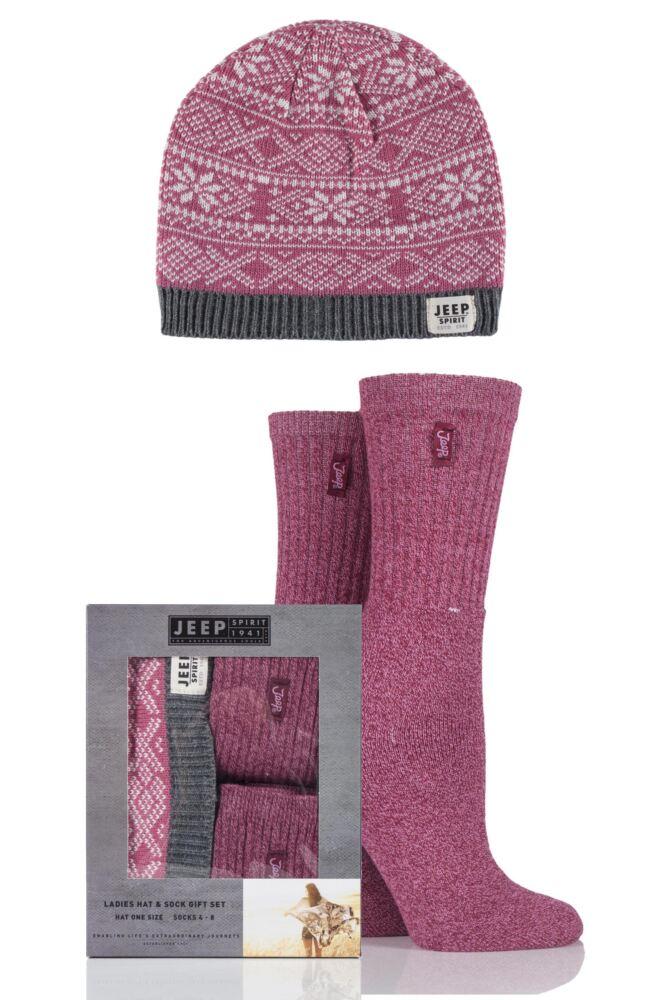 Ladies Jeep Spirit Fairisle Knit Hat and 2 Pairs of Cotton Socks Gift Box