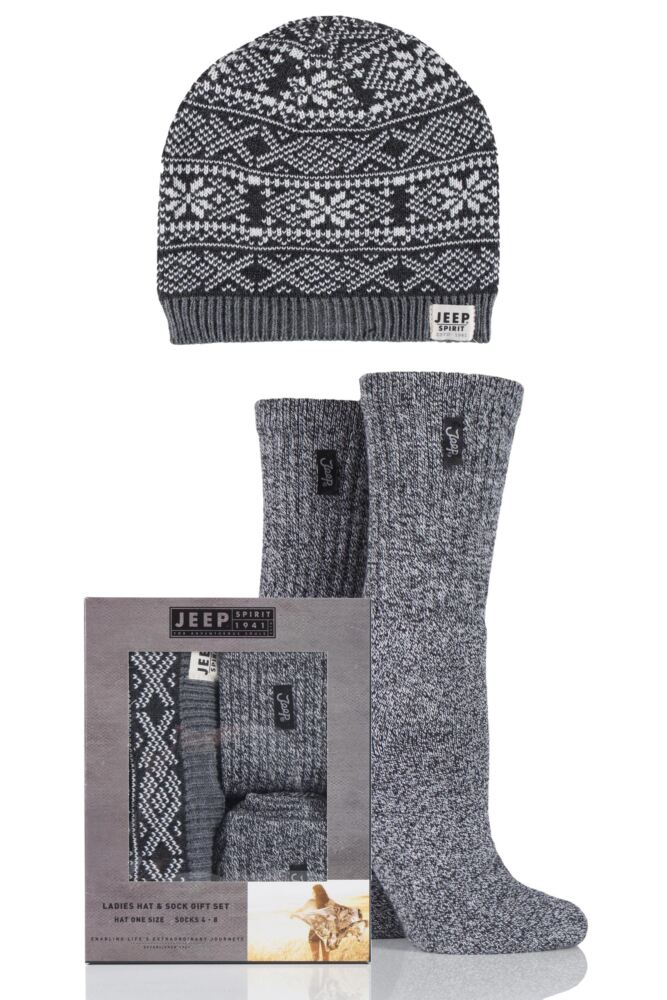 Ladies Jeep Spirit Fairisle Knit Hat and 2 Pairs of Cotton Socks Gift Box