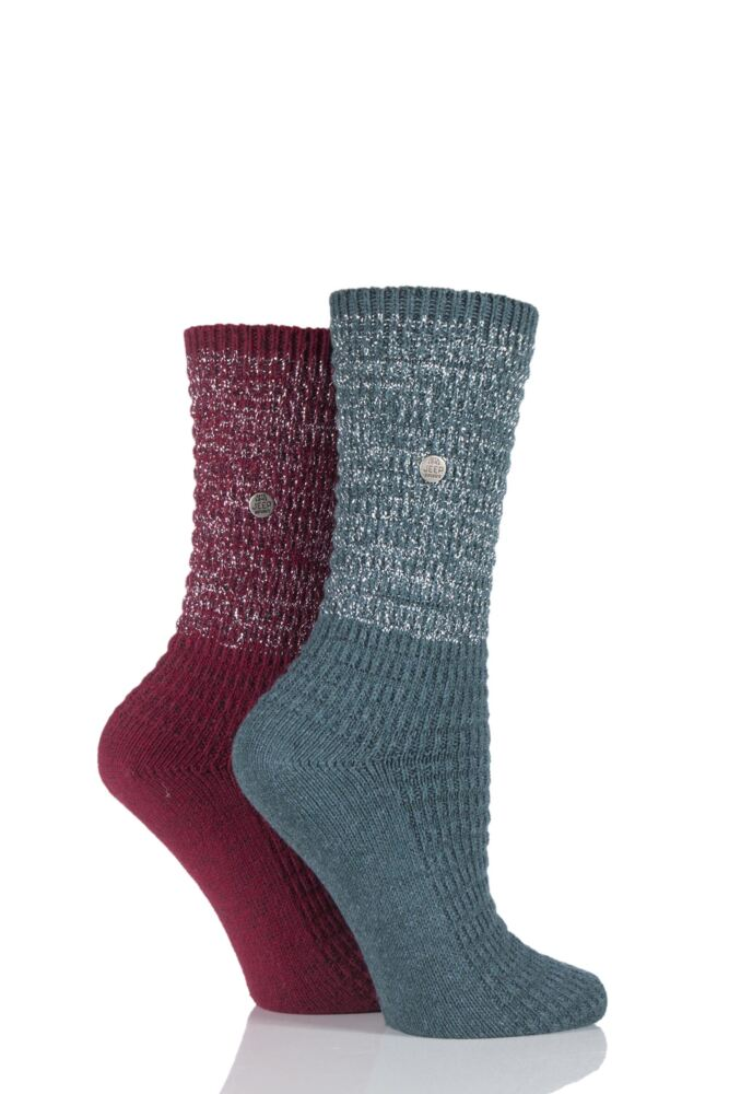 Ladies 2 Pair Jeep Spirit Metallic Knit Cotton Socks