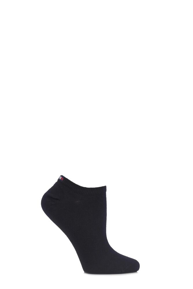 Ladies 2 Pair Tommy Hilfiger Plain Cotton Sneaker Socks