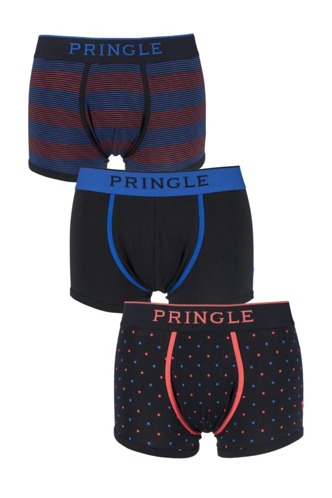 Mens 3 Pack Pringle Black Label Plain, Spotty and Striped Cotton Trunks 25% OFF