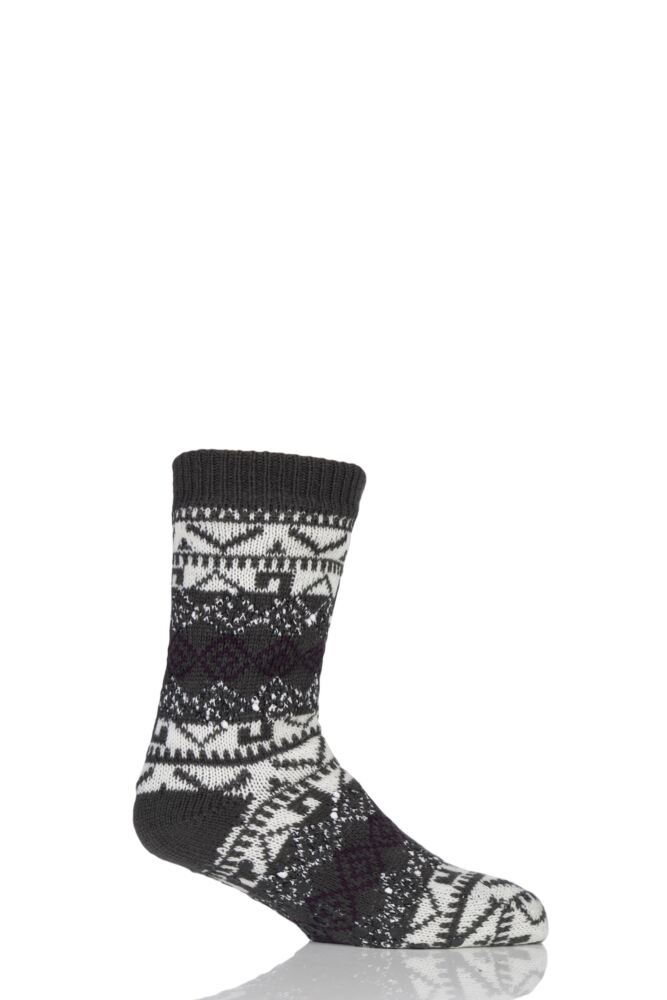 Mens 1 Pair Totes Sherpa Lined Textured Fairisle Slipper Socks