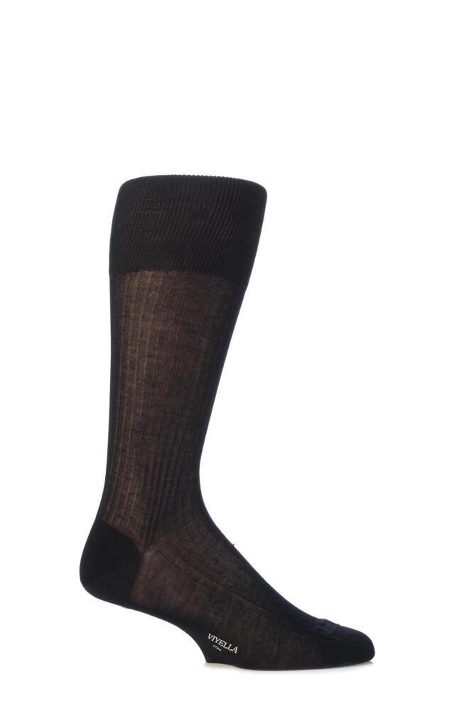Mens 1 Pair Viyella Half Hose Mercerised Cotton Socks With Hand Linked Toe