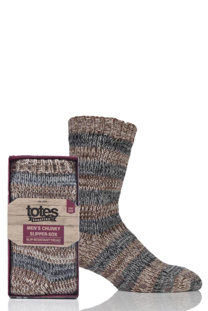 Mens 1 Pair Totes Fleece Lined Spaced Yarn Block Stripe Slipper Socks