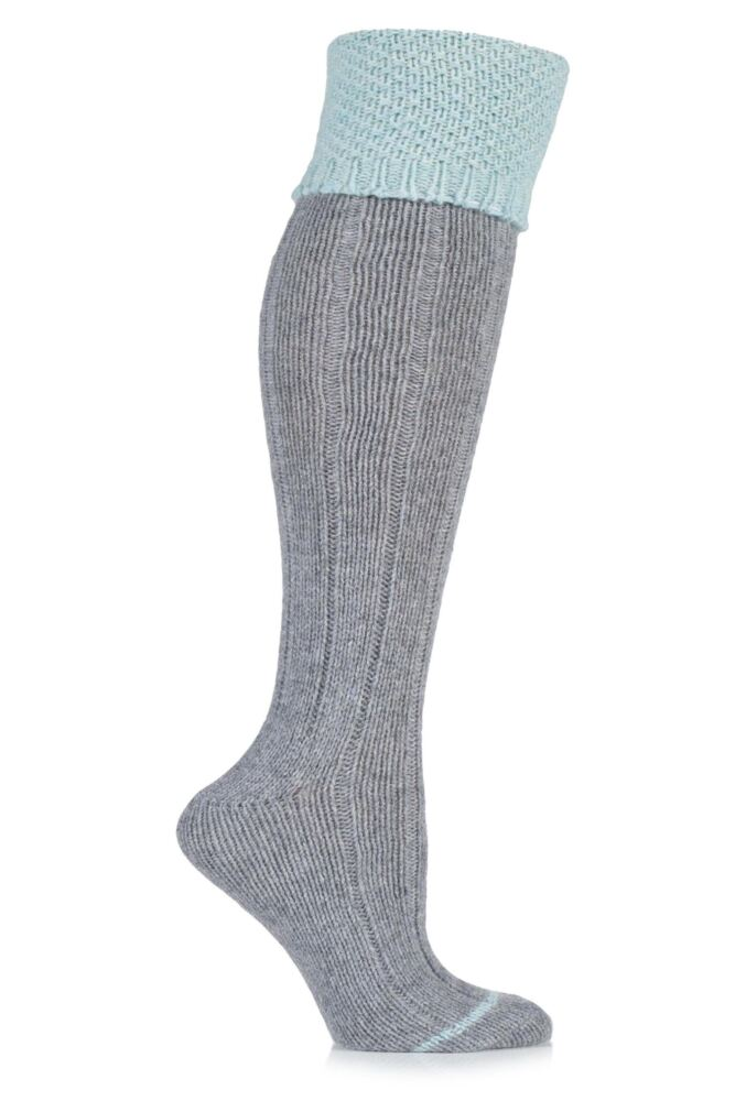 Ladies 1 Pair Urban Knit Ribbed Wool Blend Knee High Socks with Moss Welt