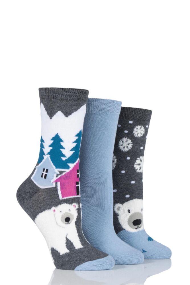 Ladies 3 Pair SockShop Polar Bear Design Novelty Cotton Socks