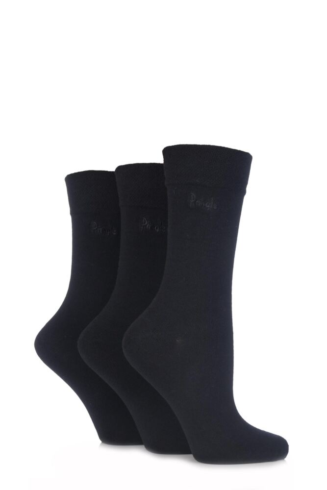 Ladies 3 Pair Pringle Jean Plain Comfort Cuff Cotton Socks