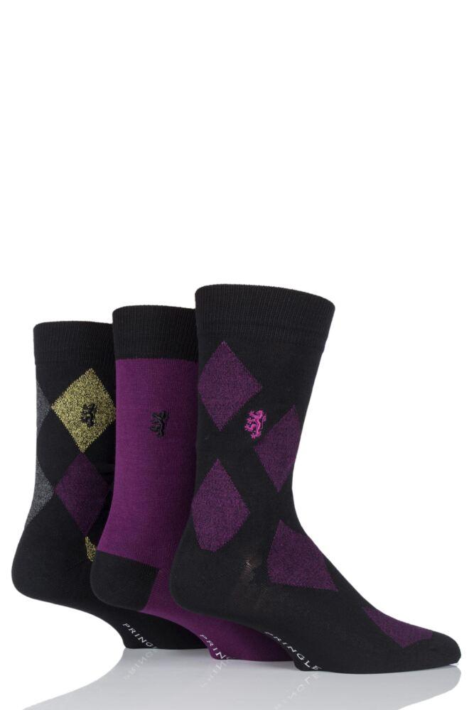 Mens 3 Pair Pringle Black Label Plain and Diamond Patterned Bamboo Socks