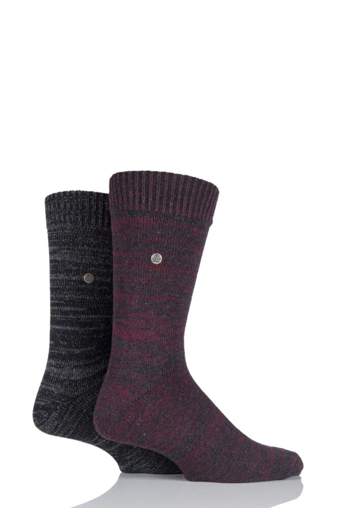Mens 2 Pair Jeep Spirit Degraded Knit Cotton Socks