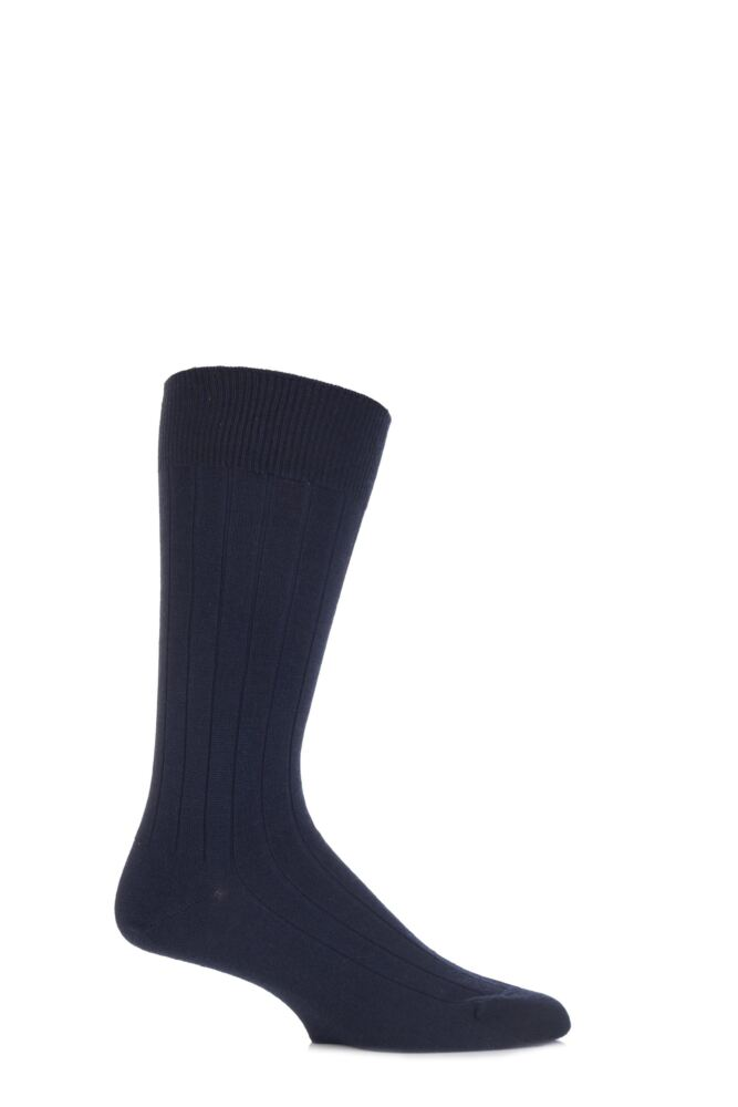 Mens 1 Pair John Smedley Omega Merino Wool Ribbed Socks