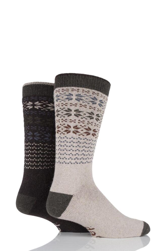 Mens 2 Pair Jeep Wool Blend Winter Fair Isle Socks