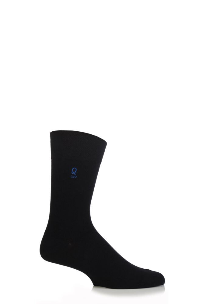 Mens 1 Pair SockShop Individual Signs Of The Zodiac Black Embroidered Socks