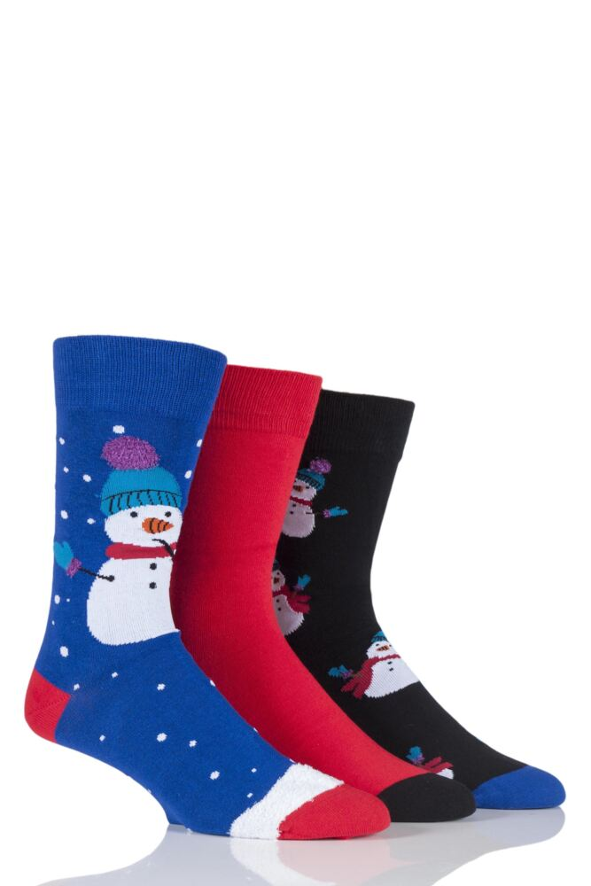 Mens 3 Pair SockShop Just For Fun Snowman Christmas Design Novelty Cotton Socks