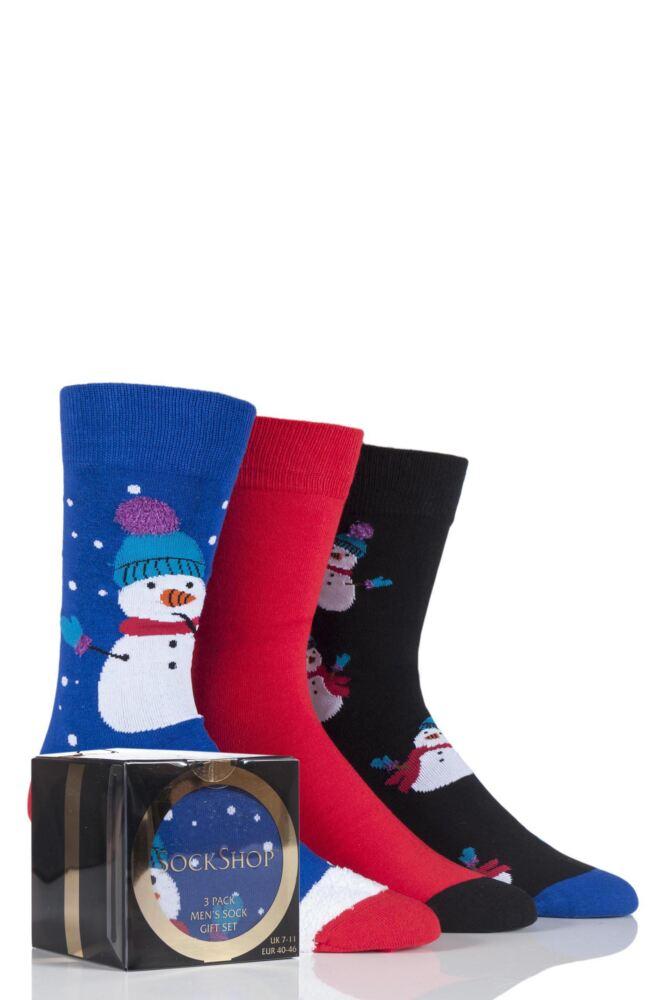 Mens 3 Pair SockShop Gift Boxed Snowman Christmas Design Novelty Cotton Socks