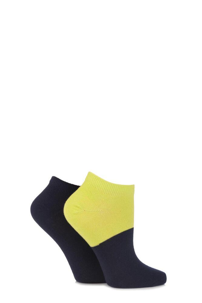 Ladies 2 Pair Puma Colour Block Quarter Socks 25% OFF