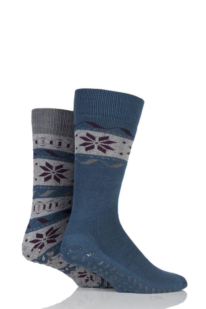 Mens 2 Pair Totes Original Fairisle Snowflake Slipper Socks