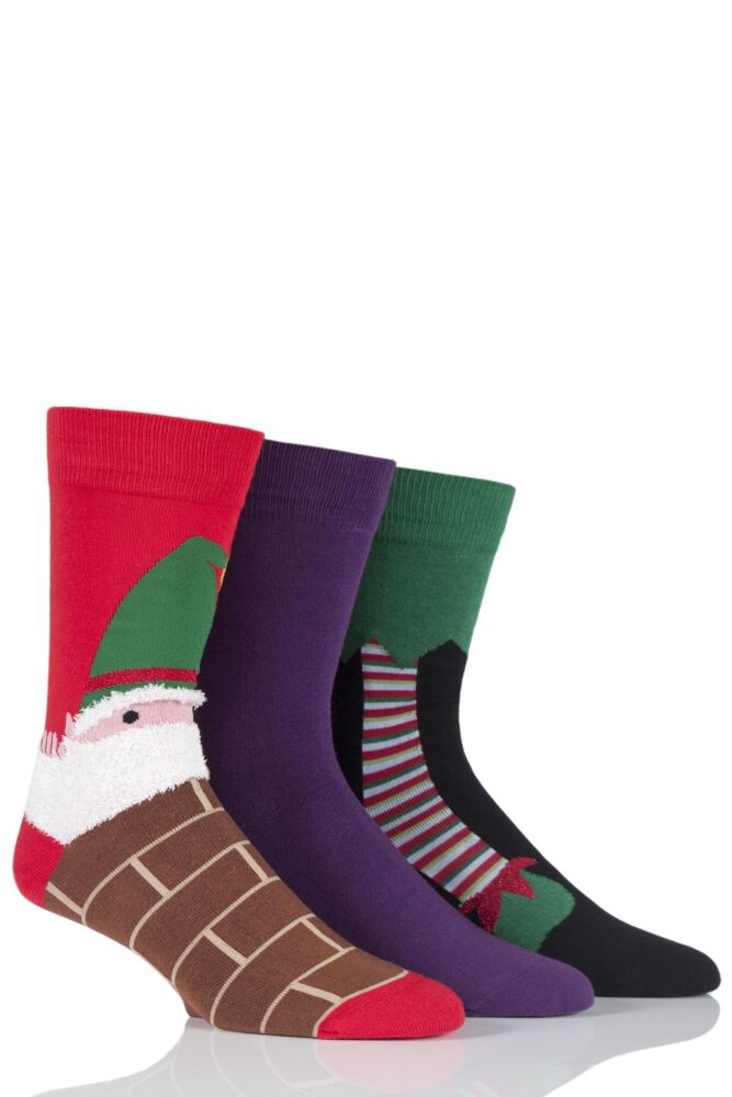 Mens 3 Pair SockShop Just For Fun Elf Christmas Design Novelty Cotton Socks