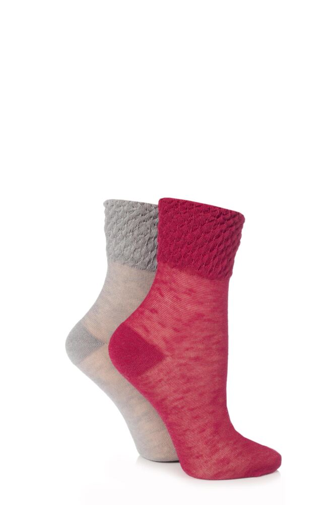 Ladies 2 Pair Elle Waffle Welt Anklet Socks