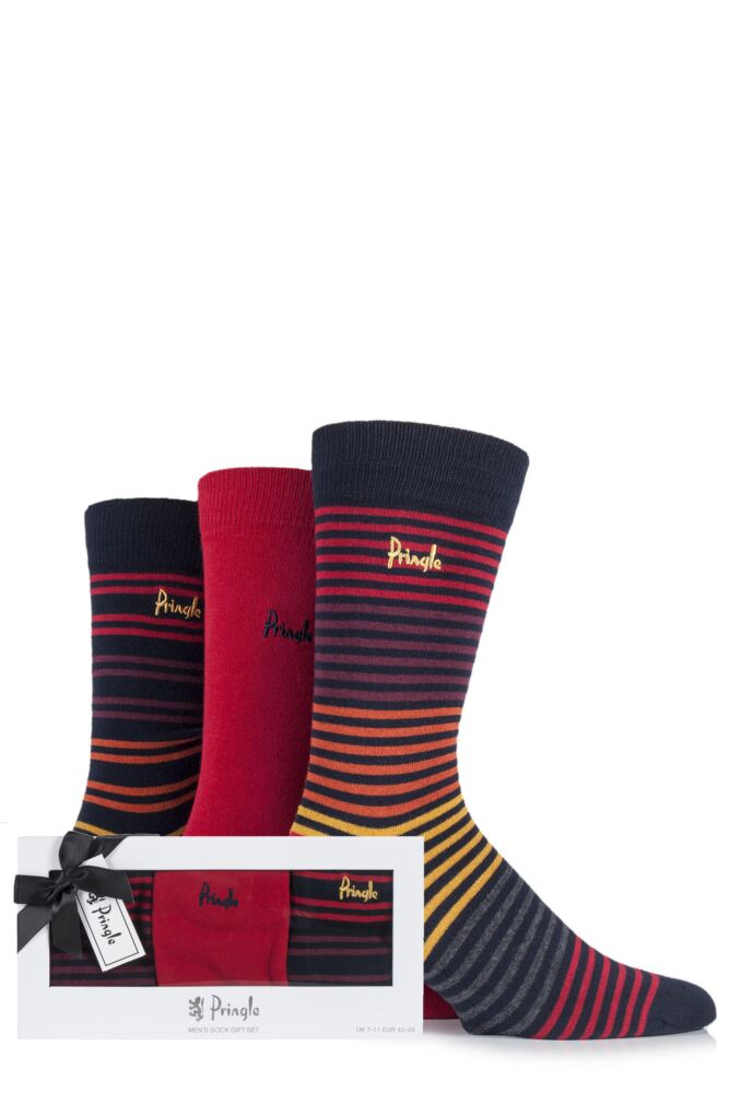 Mens 3 Pair Pringle Gift Boxed Stranraer Plain and Striped Cotton Socks