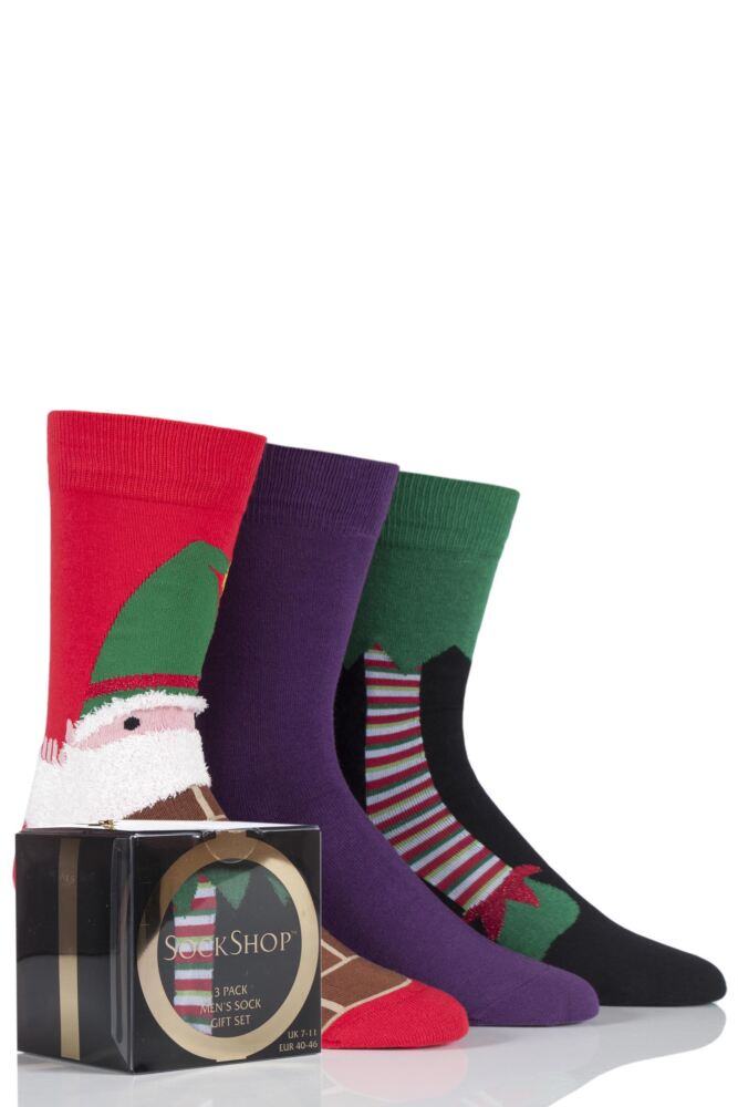 Mens 3 Pair SockShop Gift Boxed Elf Christmas Design Novelty Cotton Socks