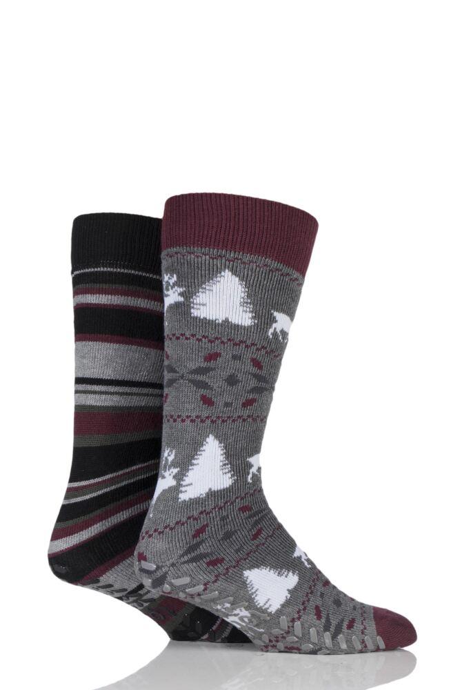 Mens 2 Pair Totes Original Reindeer and Stripe Slipper Socks
