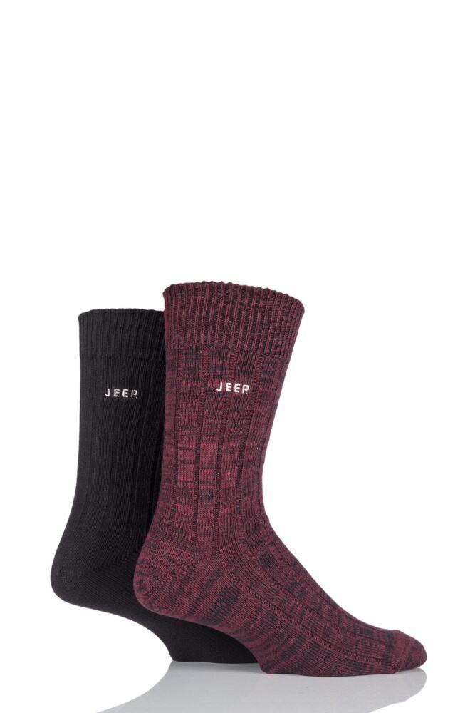 Mens 2 Pair Jeep Spirit Twisted Colour Cotton Socks
