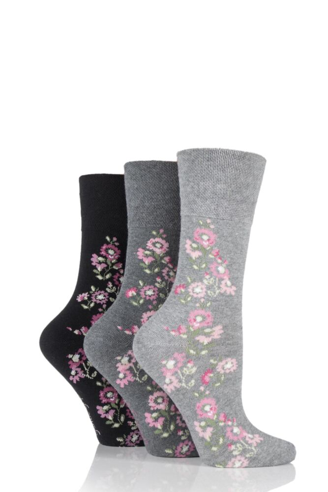 Ladies 3 Pair Gentle Grip Climbing Rose Marl Cotton Socks