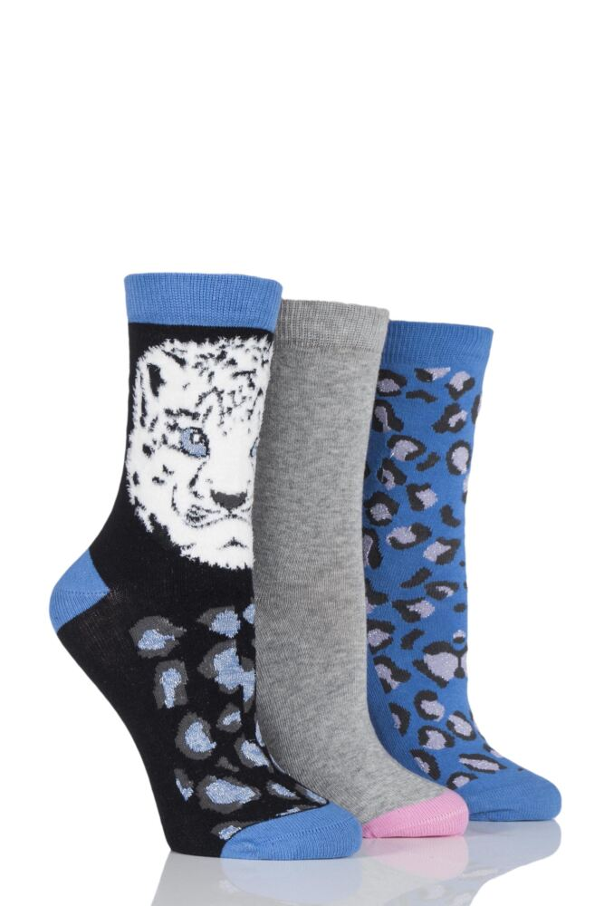 Ladies 3 Pair SockShop Snow Leopard and Plain Novelty Socks 25% OFF