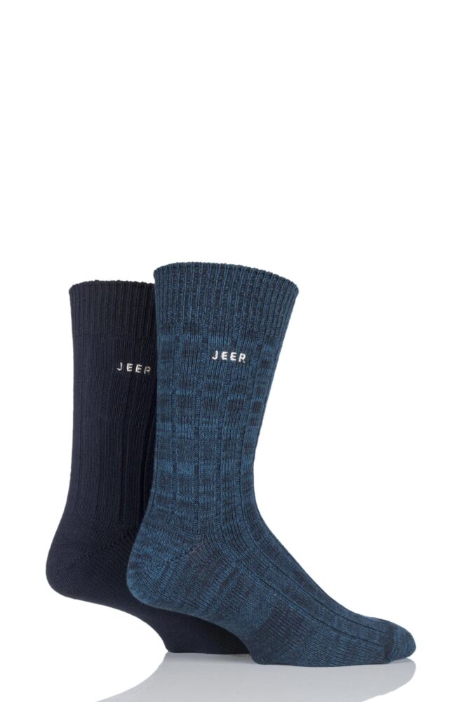 Mens 2 Pair Jeep Spirit Twisted Colour Cotton Socks
