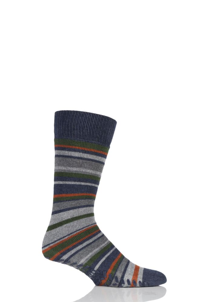 Mens 1 Pair Totes Original Striped Slipper Socks with Grip