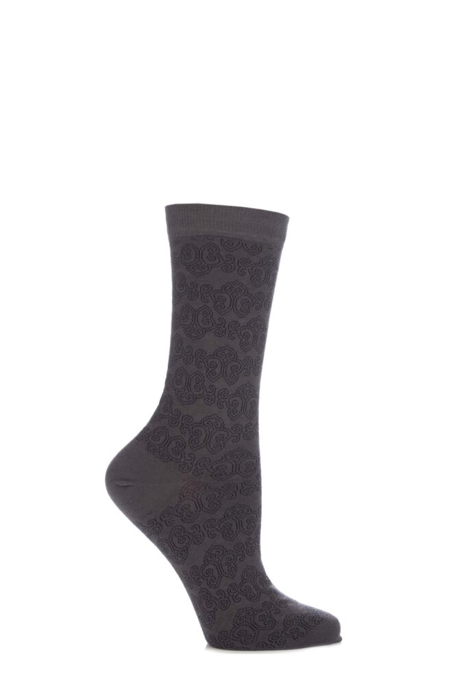 Ladies 1 Pair Levante Como Cotton Baroque Crew Socks