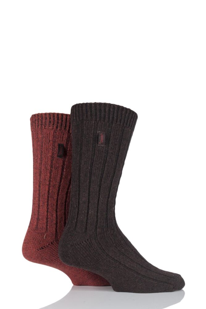 Mens 2 Pair Jeep Wool Blend Ribbed Boot Socks