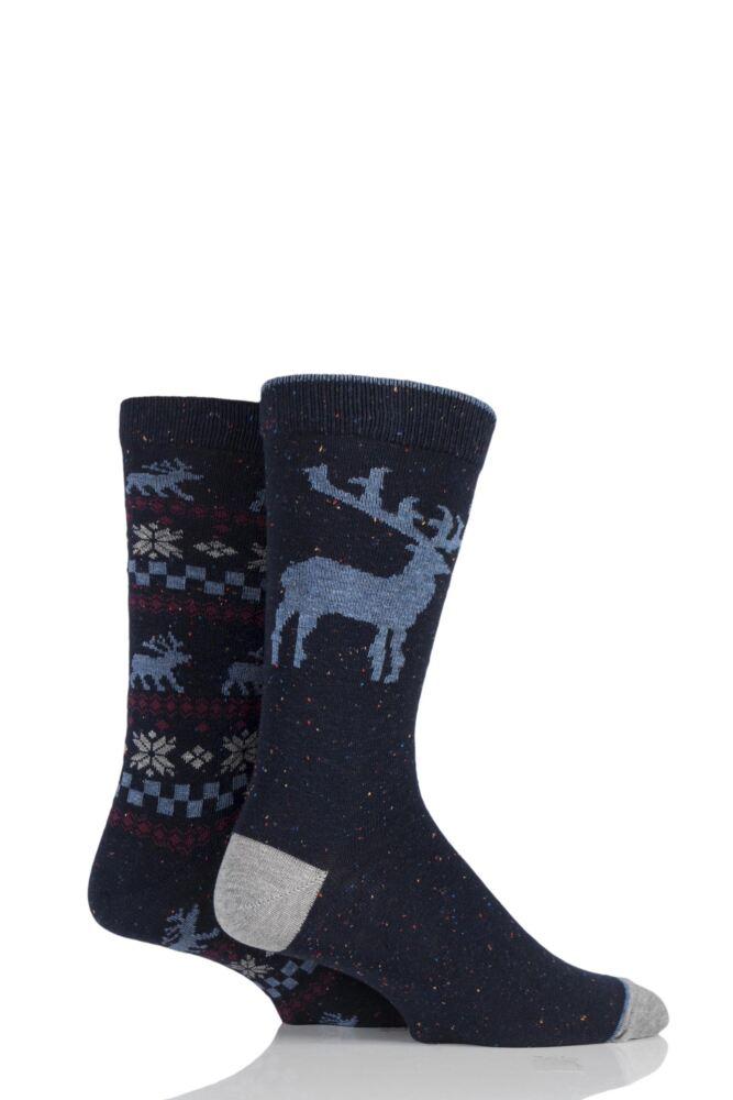 Mens 2 Pair Totes Christmas Novelty Socks In Cracker Gift Box
