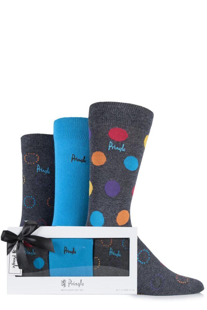 Mens 3 Pair Pringle Gift Boxed Cambuslang Plain, Circles and Spotty Cotton Socks