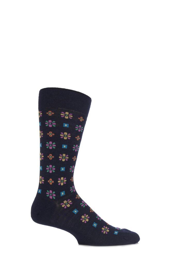 Mens 1 Pair Richard James Merino Wool Frederick Edwardian Floral Socks 25% OFF