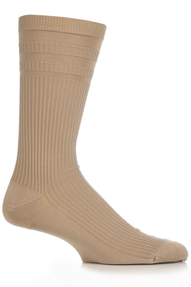 Mens 1 Pair Pantherella Cotton Ribbed Comfort Top Socks In 5 Colours