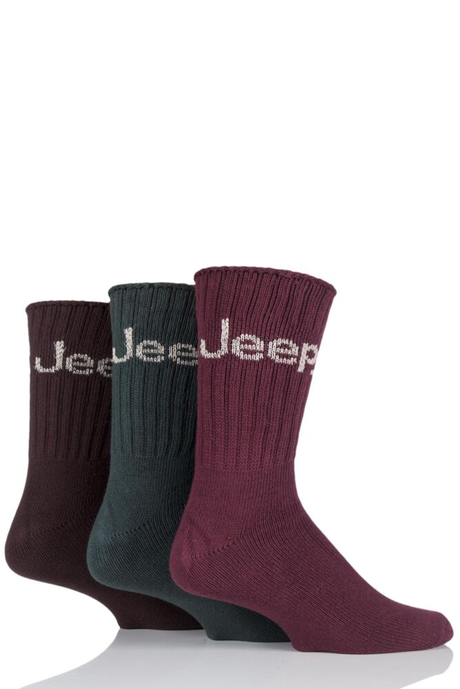 Mens 3 Pair Jeep Ribbed Cotton Boot Socks