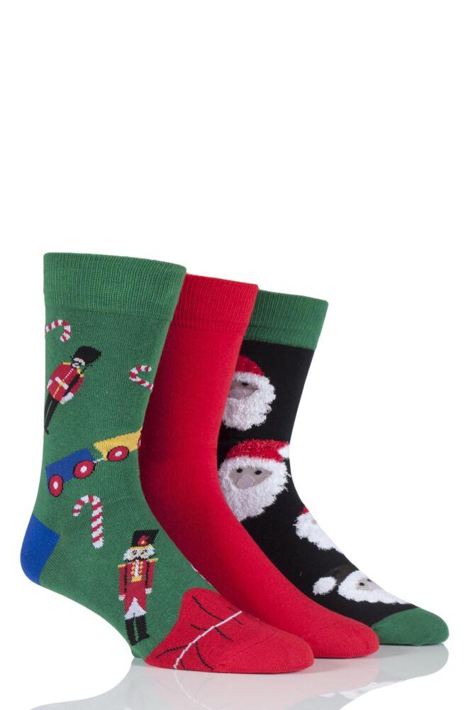 Mens 3 Pair SockShop Just For Fun Santa and Toys Christmas Design Novelty Cotton Socks